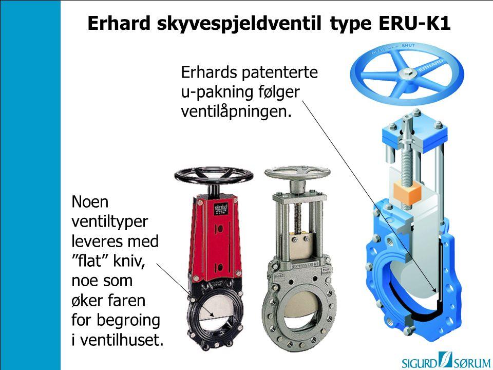 """Noen ventiltyper leveres med """"flat"""" kniv, noe som øker faren for begroing i ventilhuset. Erhards patenterte u-pakning følger ventilåpningen. Erhard sk"""