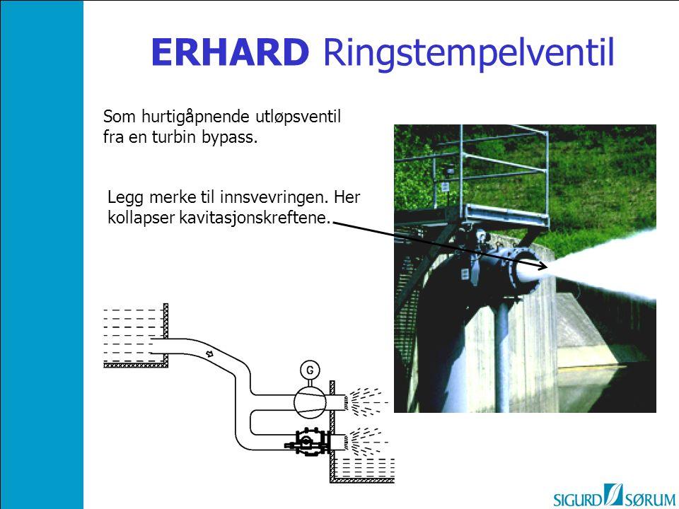 ERHARD Ringstempelventil Legg merke til innsvevringen. Her kollapser kavitasjonskreftene. Som hurtigåpnende utløpsventil fra en turbin bypass.