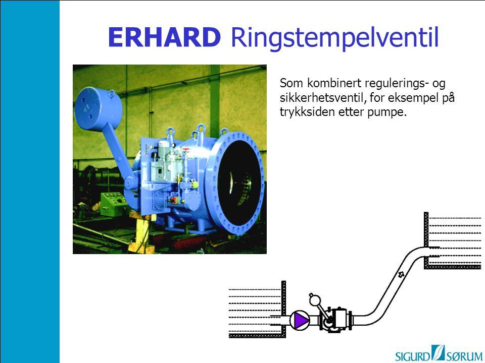 ERHARD Ringstempelventil Som kombinert regulerings- og sikkerhetsventil, for eksempel på trykksiden etter pumpe.