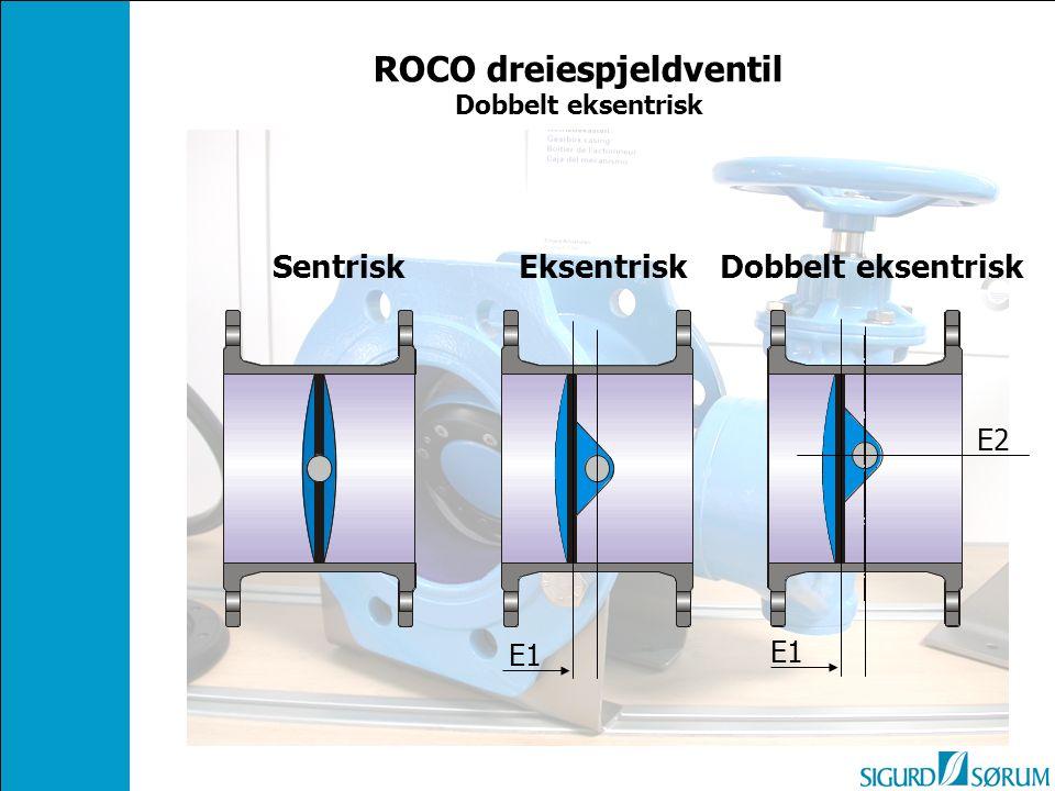Dobbelt eksentrisk E1 E2 Eksentrisk E1 ROCO dreiespjeldventil Dobbelt eksentrisk
