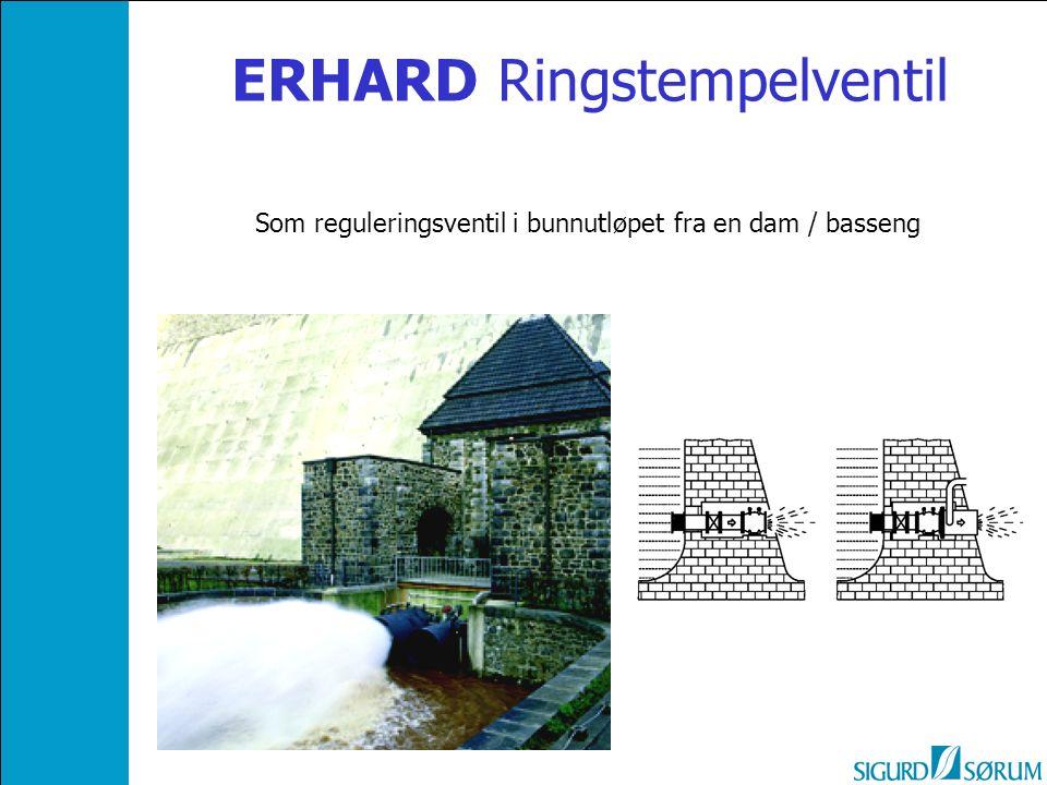 ERHARD Ringstempelventil Som reguleringsventil i bunnutløpet fra en dam / basseng