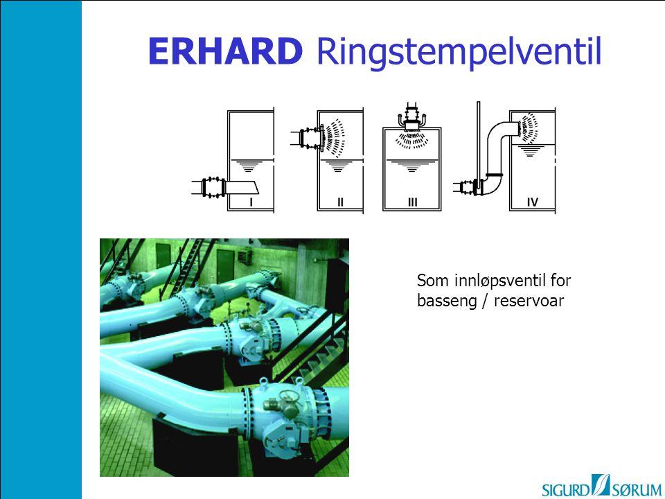 ERHARD Ringstempelventil Som innløpsventil for basseng / reservoar