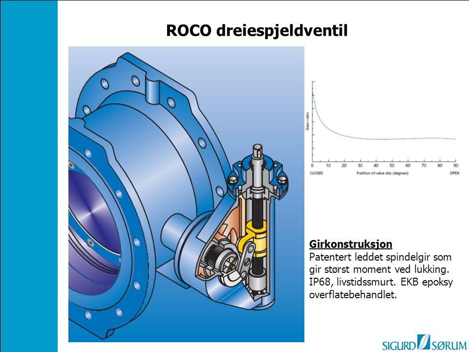 ROCO dreiespjeldventil Girkonstruksjon Patentert leddet spindelgir som gir størst moment ved lukking. IP68, livstidssmurt. EKB epoksy overflatebehandl
