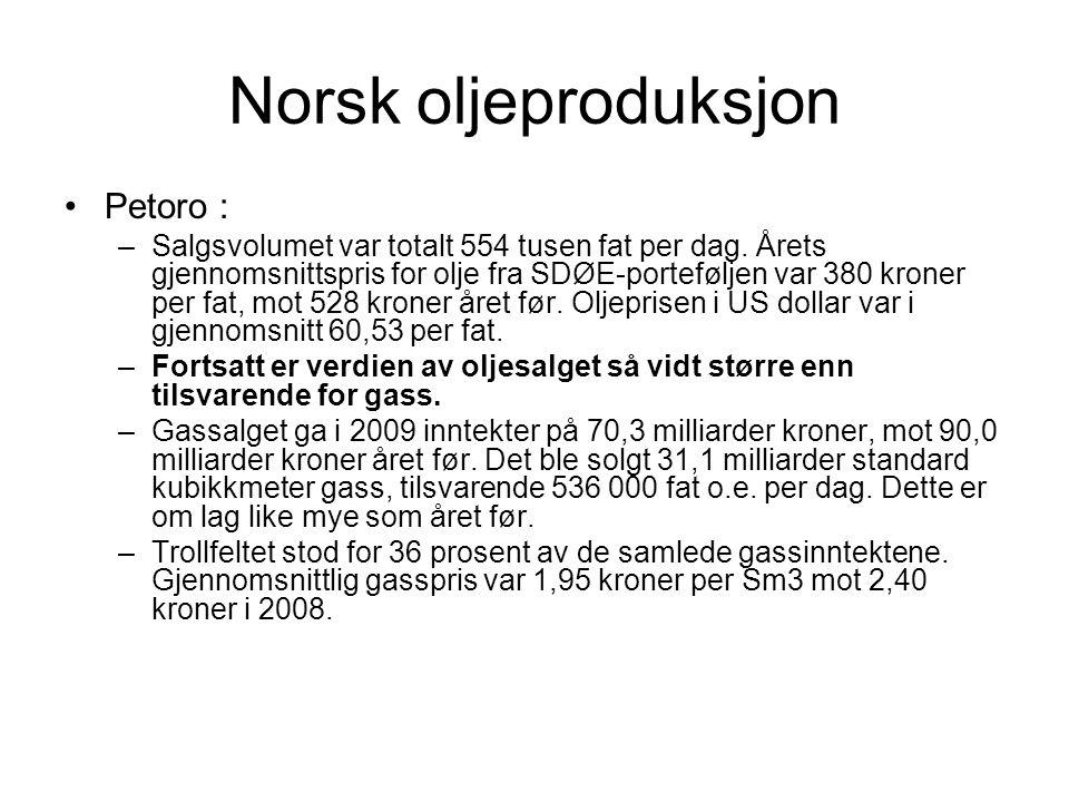 Norsk oljeproduksjon Petoro : –Salgsvolumet var totalt 554 tusen fat per dag. Årets gjennomsnittspris for olje fra SDØE-porteføljen var 380 kroner per