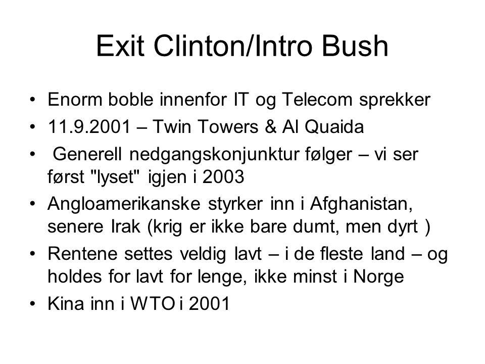 Exit Clinton/Intro Bush Enorm boble innenfor IT og Telecom sprekker 11.9.2001 – Twin Towers & Al Quaida Generell nedgangskonjunktur følger – vi ser fø