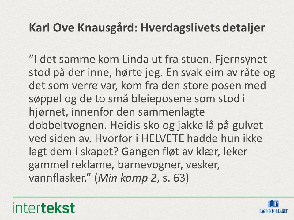 Karl Ove Knausgård: Hverdagslivets detaljer I det samme kom Linda ut fra stuen.