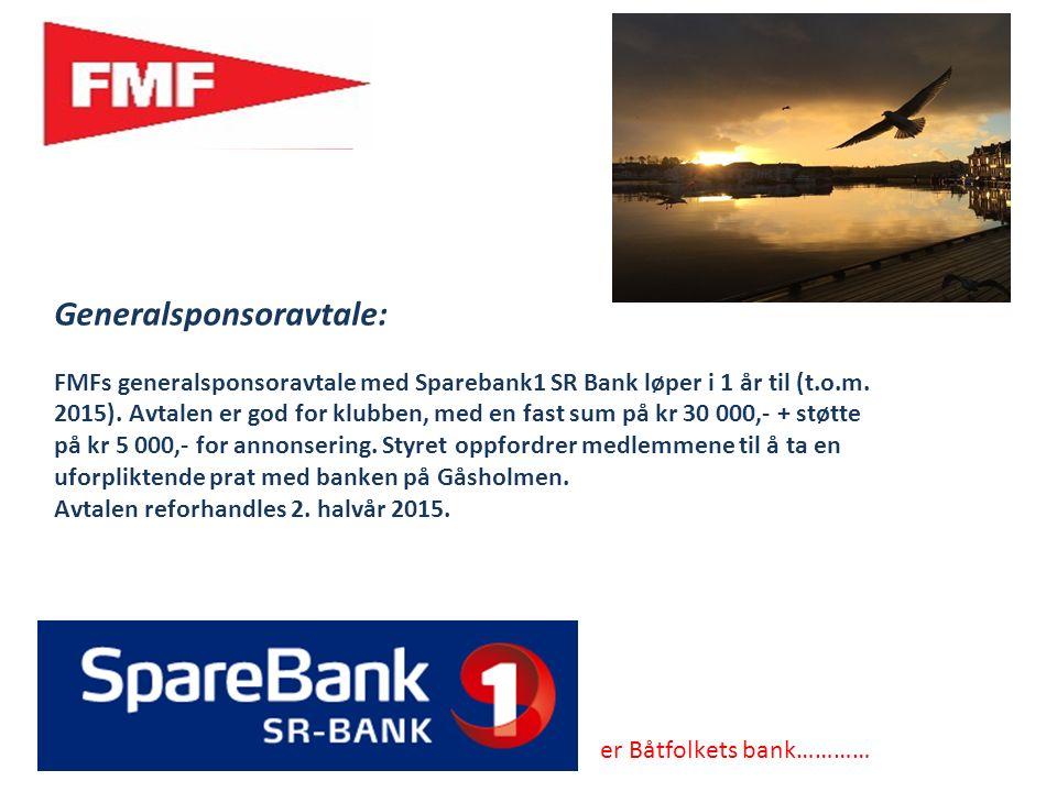 Generalsponsoravtale: FMFs generalsponsoravtale med Sparebank1 SR Bank løper i 1 år til (t.o.m.