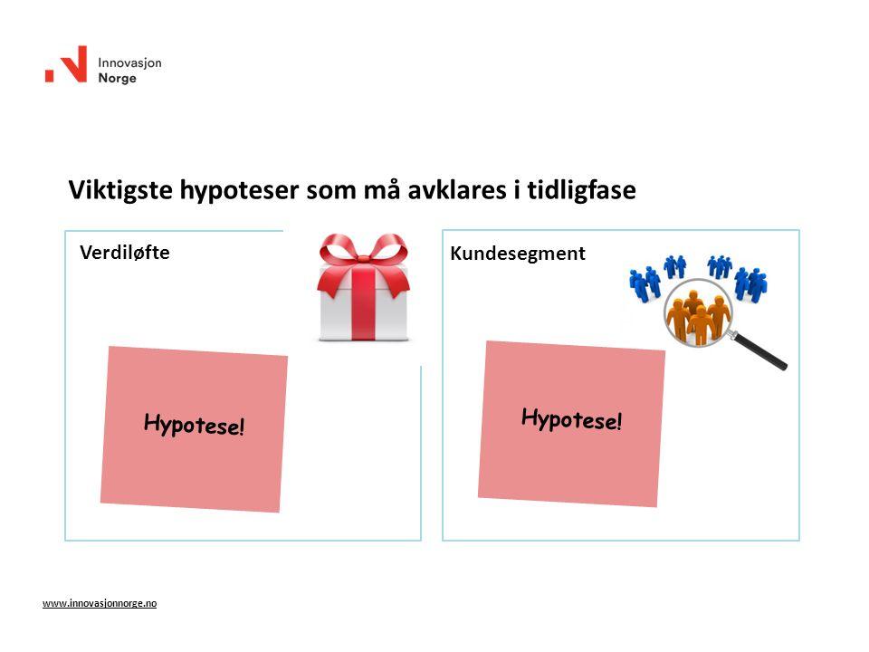 Verdiløfte Kundesegment www.innovasjonnorge.no Viktigste hypoteser som må avklares i tidligfase Hypotese!