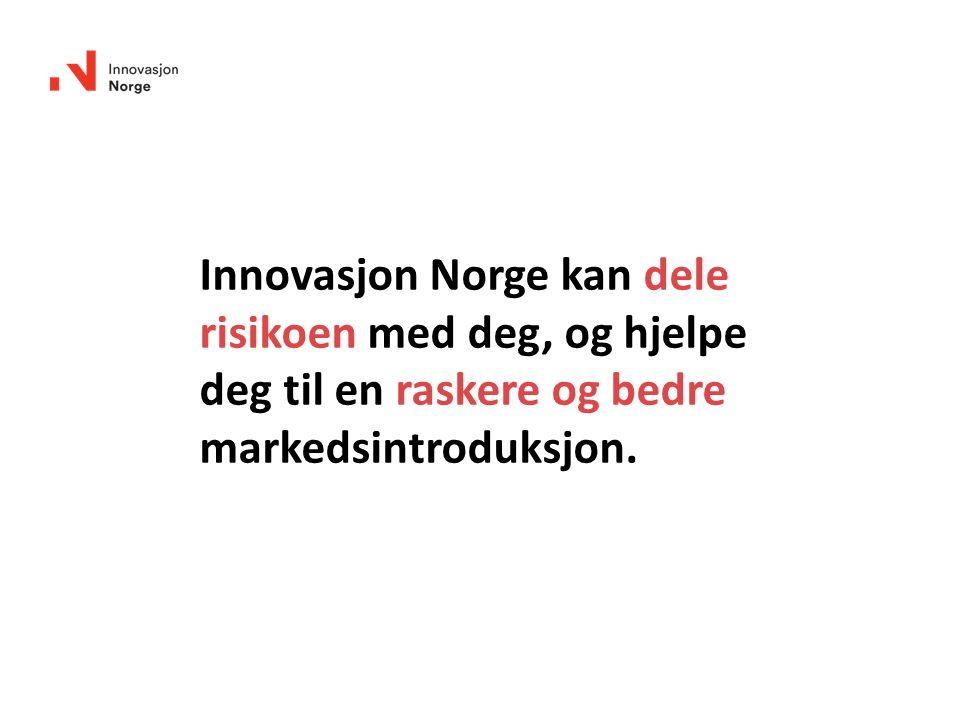 Innovasjon Norge kan dele risikoen med deg, og hjelpe deg til en raskere og bedre markedsintroduksjon.