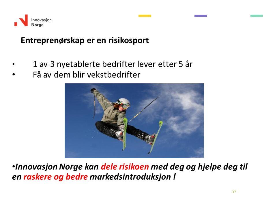 37 Entreprenørskap er en risikosport 1 av 3 nyetablerte bedrifter lever etter 5 år Få av dem blir vekstbedrifter Innovasjon Norge kan dele risikoen med deg og hjelpe deg til en raskere og bedre markedsintroduksjon !