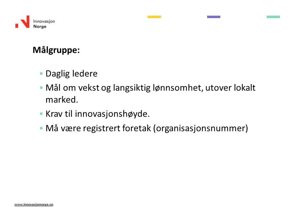 Målgruppe: www.innovasjonnorge.no Daglig ledere Mål om vekst og langsiktig lønnsomhet, utover lokalt marked.