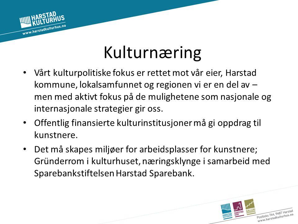 Kulturnæring Vårt kulturpolitiske fokus er rettet mot vår eier, Harstad kommune, lokalsamfunnet og regionen vi er en del av – men med aktivt fokus på de mulighetene som nasjonale og internasjonale strategier gir oss.
