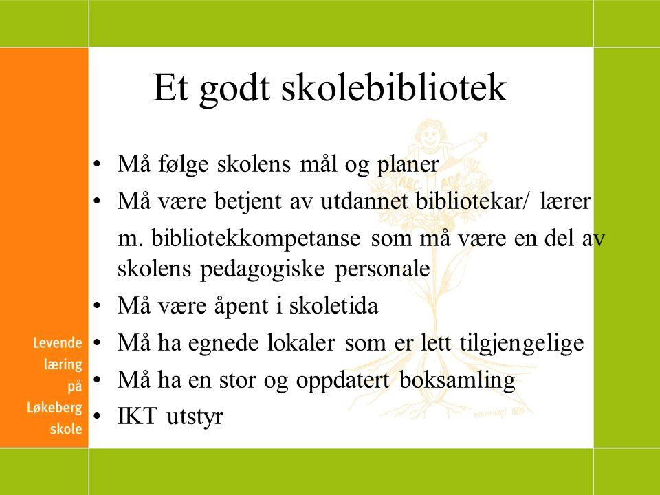 Et godt skolebibliotek Må følge skolens mål og planer Må være betjent av utdannet bibliotekar/ lærer m.