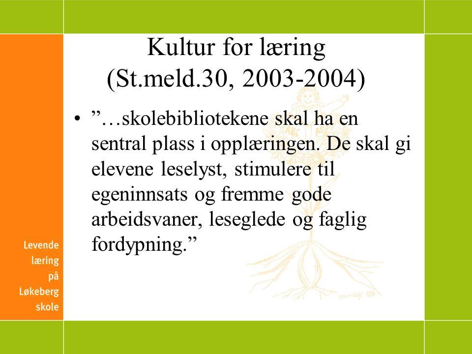 Kultur for læring (St.meld.30, 2003-2004) …skolebibliotekene skal ha en sentral plass i opplæringen.