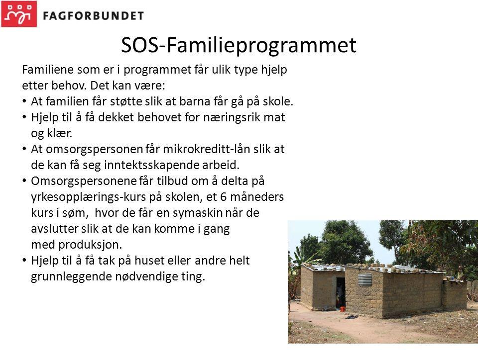 SOS-Familieprogrammet Familiene som er i programmet får ulik type hjelp etter behov. Det kan være: At familien får støtte slik at barna får gå på skol