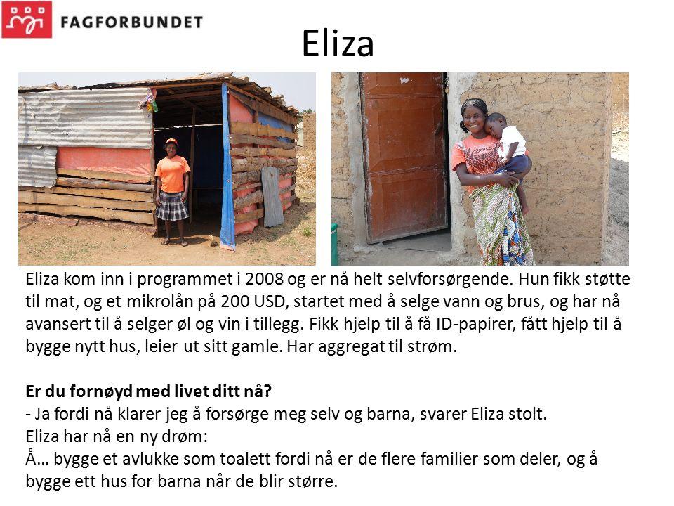 Eliza Eliza kom inn i programmet i 2008 og er nå helt selvforsørgende. Hun fikk støtte til mat, og et mikrolån på 200 USD, startet med å selge vann og