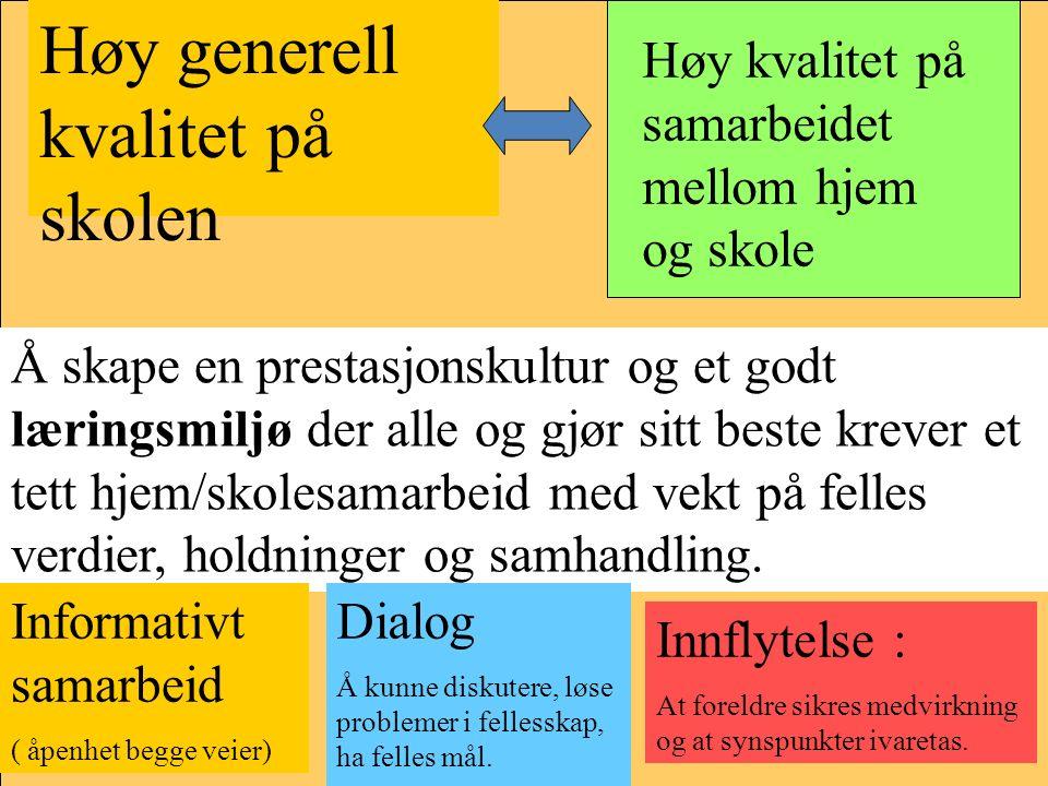 Høy generell kvalitet på skolen Høy kvalitet på samarbeidet mellom hjem og skole Å skape en prestasjonskultur og et godt læringsmiljø der alle og gjør