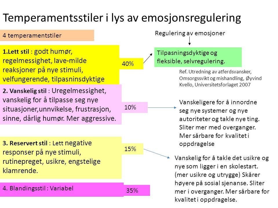 Temperamentsstiler i lys av emosjonsregulering 4 temperamentstiler Tilpasningsdyktige og fleksible, selvregulering. 1.Lett stil : godt humør, regelmes