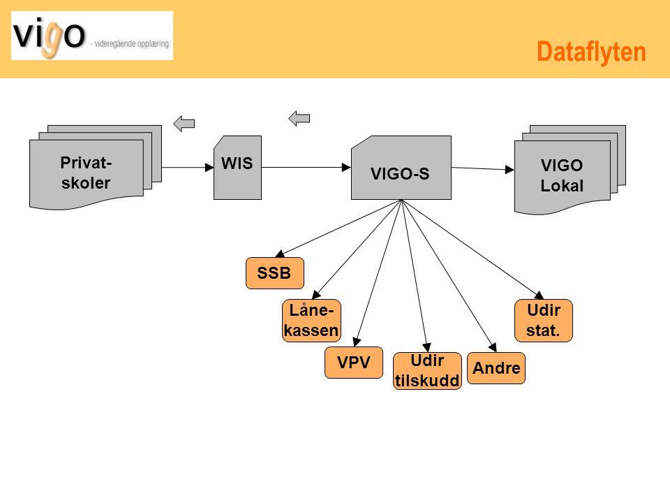 Dataflyten Privat- skoler WIS VIGO-S VIGO Lokal SSB Låne- kassen VPV Udir tilskudd Andre Udir stat.