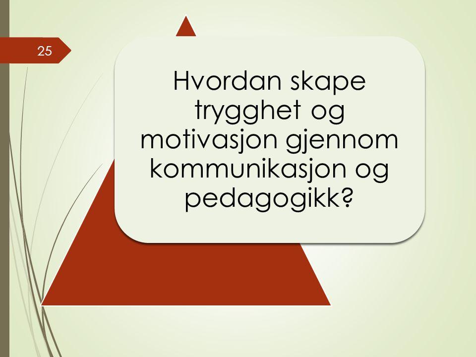 Hvordan skape trygghet og motivasjon gjennom kommunikasjon og pedagogikk? 25