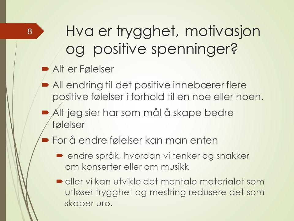 Hva er trygghet, motivasjon og positive spenninger.