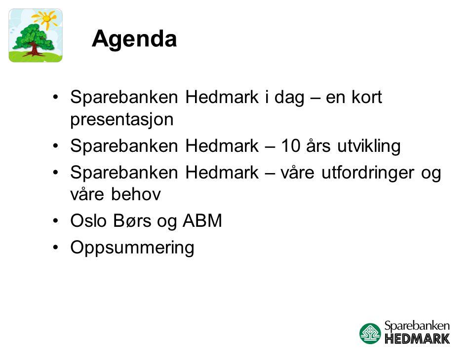 Agenda Sparebanken Hedmark i dag – en kort presentasjon Sparebanken Hedmark – 10 års utvikling Sparebanken Hedmark – våre utfordringer og våre behov Oslo Børs og ABM Oppsummering