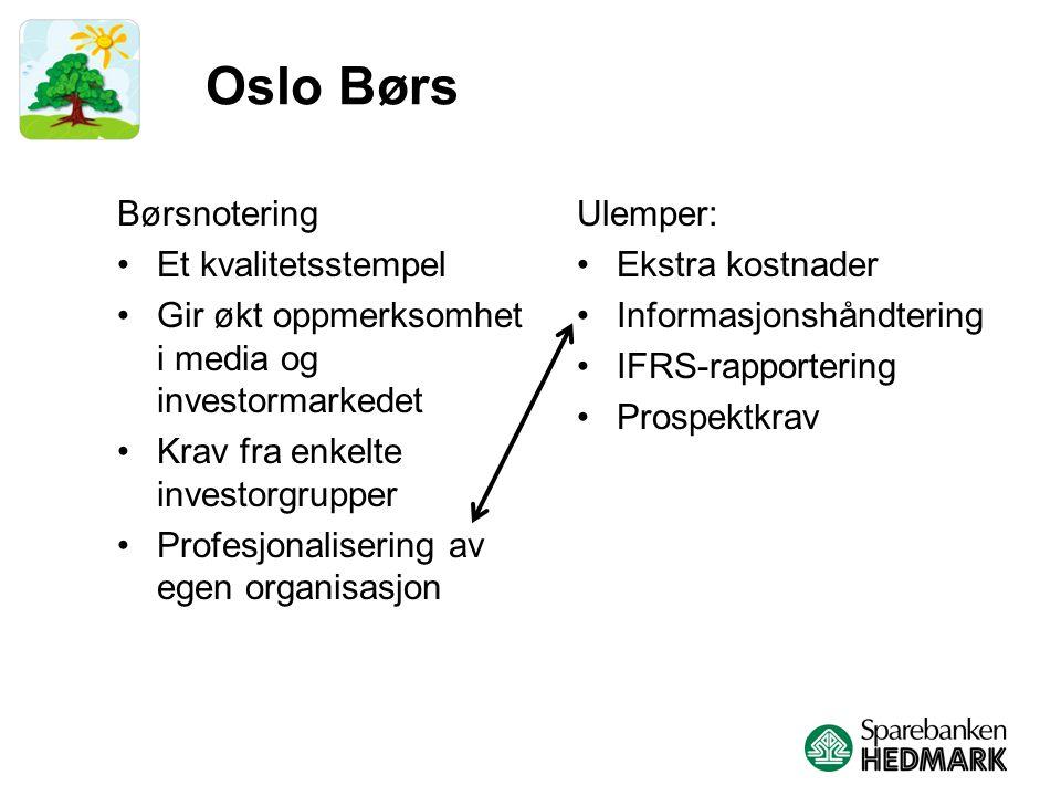 Oslo Børs Børsnotering Et kvalitetsstempel Gir økt oppmerksomhet i media og investormarkedet Krav fra enkelte investorgrupper Profesjonalisering av egen organisasjon Ulemper: Ekstra kostnader Informasjonshåndtering IFRS-rapportering Prospektkrav