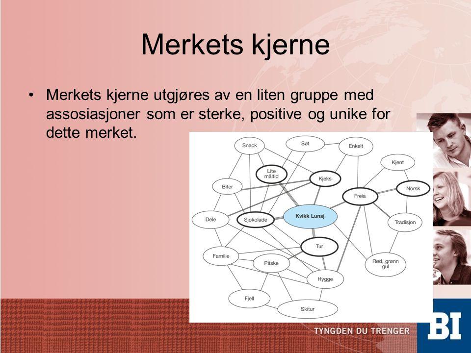 Merkets kjerne Merkets kjerne utgjøres av en liten gruppe med assosiasjoner som er sterke, positive og unike for dette merket.