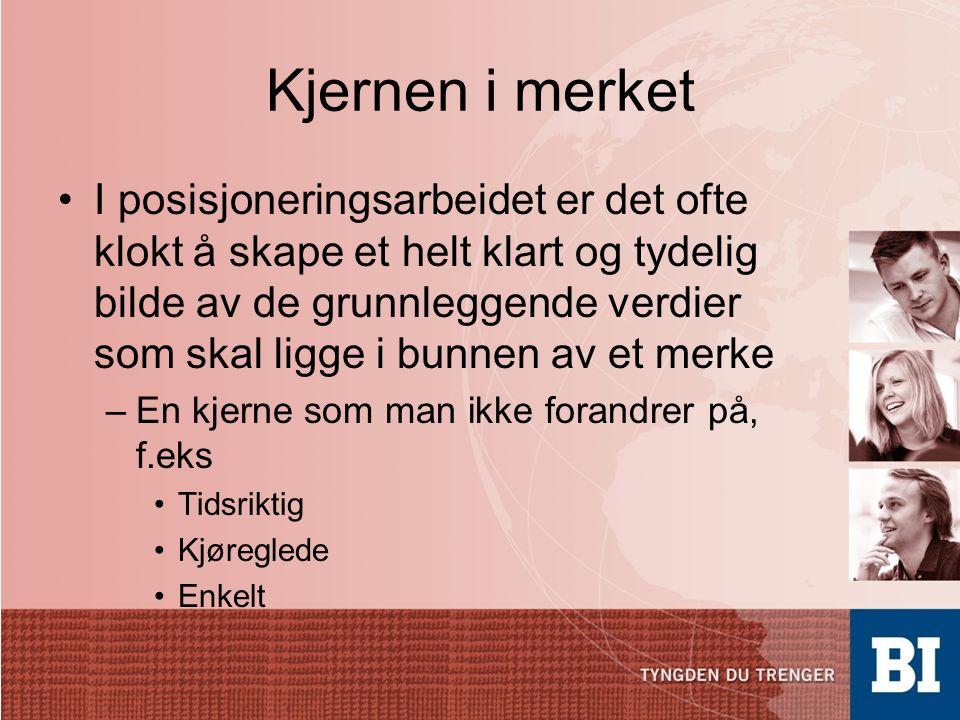Merkevarebygging kjetil.aukland@bi.no Høyskolelektor, BI Kristiansand Valg av merkekonsept Det første, mest grunnleggende og (nesten) uforanderlige valget.