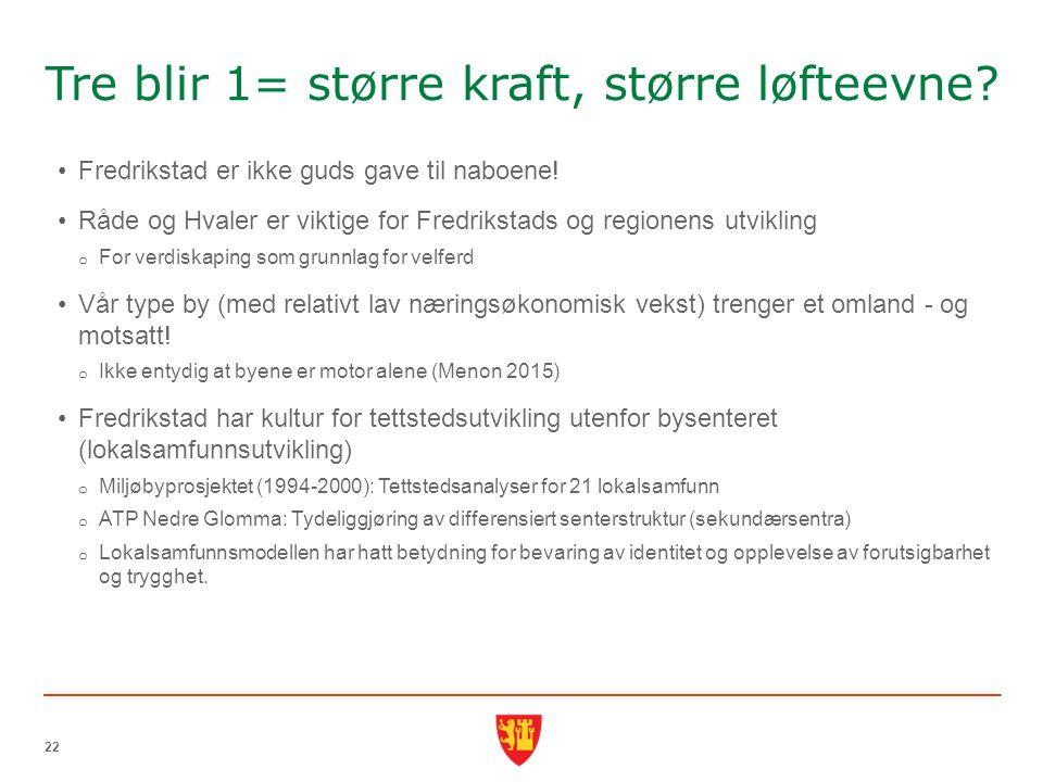 Tre blir 1= større kraft, større løfteevne. Fredrikstad er ikke guds gave til naboene.