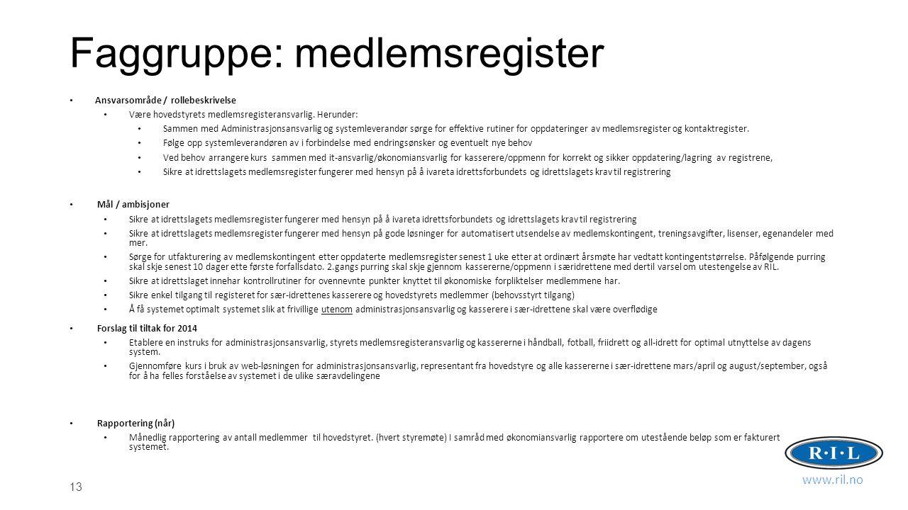13 Faggruppe: medlemsregister Ansvarsområde / rollebeskrivelse Være hovedstyrets medlemsregisteransvarlig.