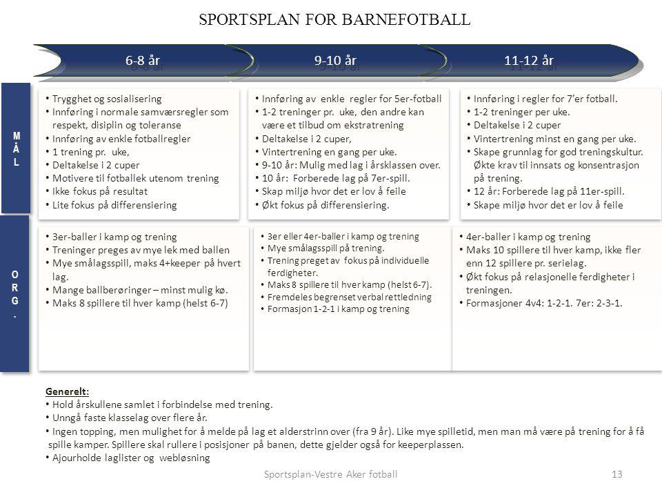 RETNINGSLINJER Trygghet og sosialisering Innføring i normale samværsregler som respekt, disiplin og toleranse Innføring av enkle fotballregler 1 trening pr.