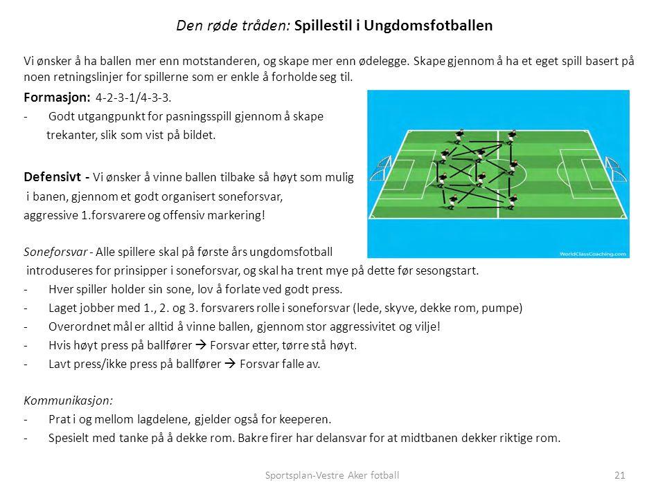 Den røde tråden: Spillestil i Ungdomsfotballen Vi ønsker å ha ballen mer enn motstanderen, og skape mer enn ødelegge.
