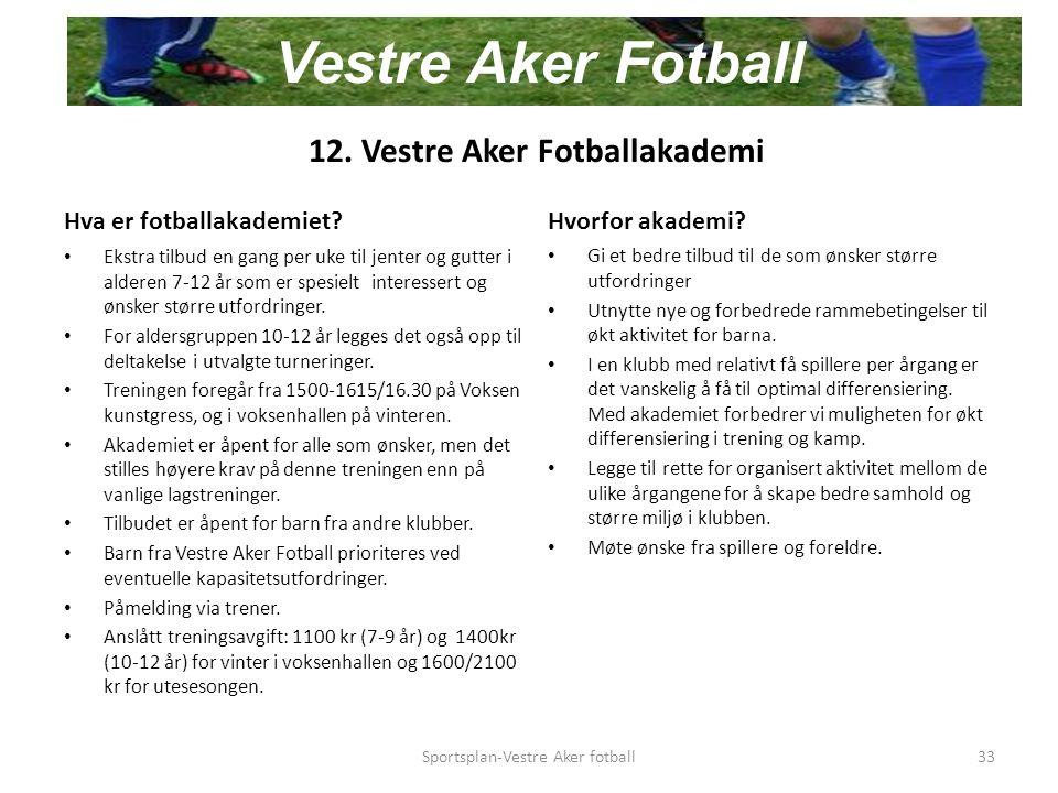 12. Vestre Aker Fotballakademi Hva er fotballakademiet.