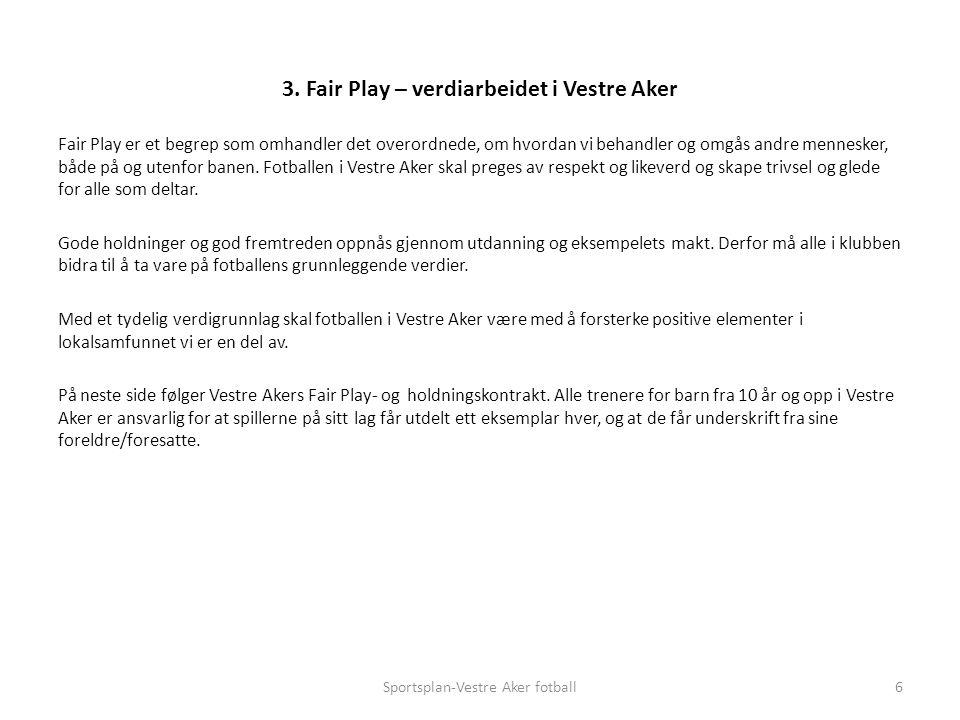 Fair Play er et begrep som omhandler det overordnede, om hvordan vi behandler og omgås andre mennesker, både på og utenfor banen.