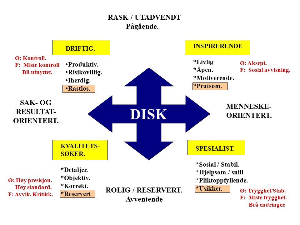 Driftig & Dominans (D) Inspirerende & Innflytelse (I) Spesialist & Stabilitet (S) Kvalitetssøker& Grundig (K)