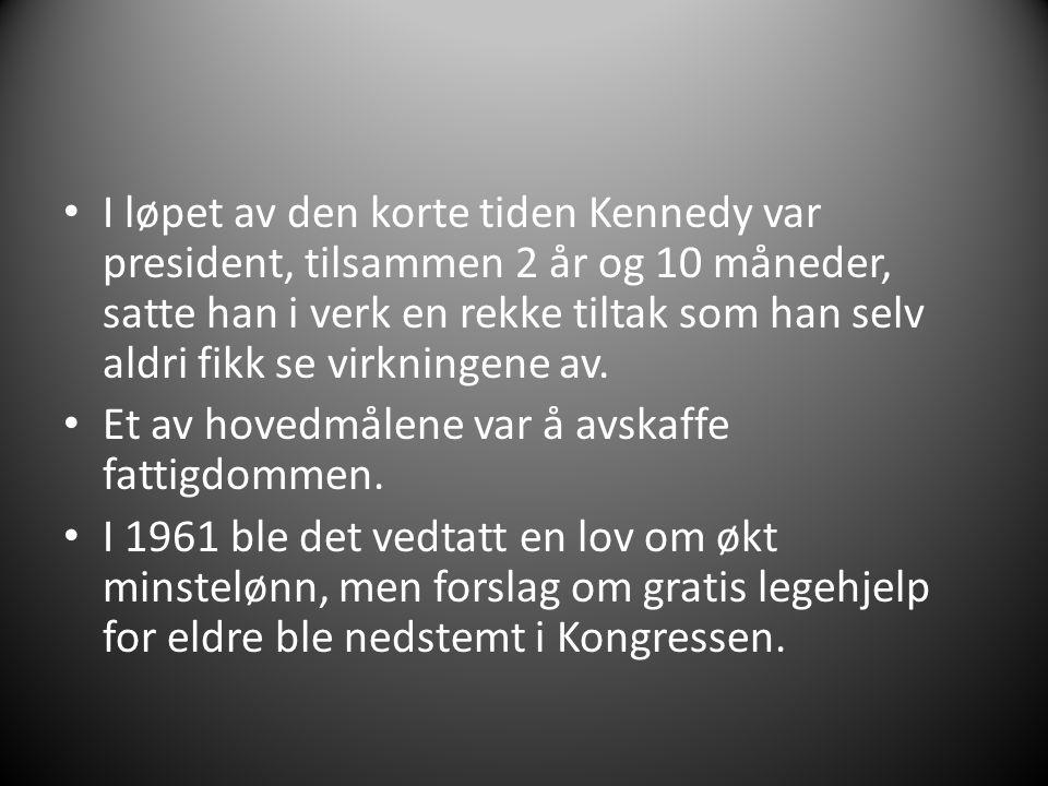I løpet av den korte tiden Kennedy var president, tilsammen 2 år og 10 måneder, satte han i verk en rekke tiltak som han selv aldri fikk se virkningen