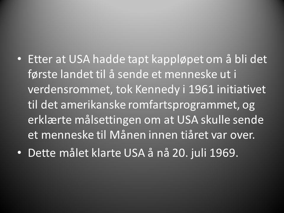 Etter at USA hadde tapt kappløpet om å bli det første landet til å sende et menneske ut i verdensrommet, tok Kennedy i 1961 initiativet til det amerik