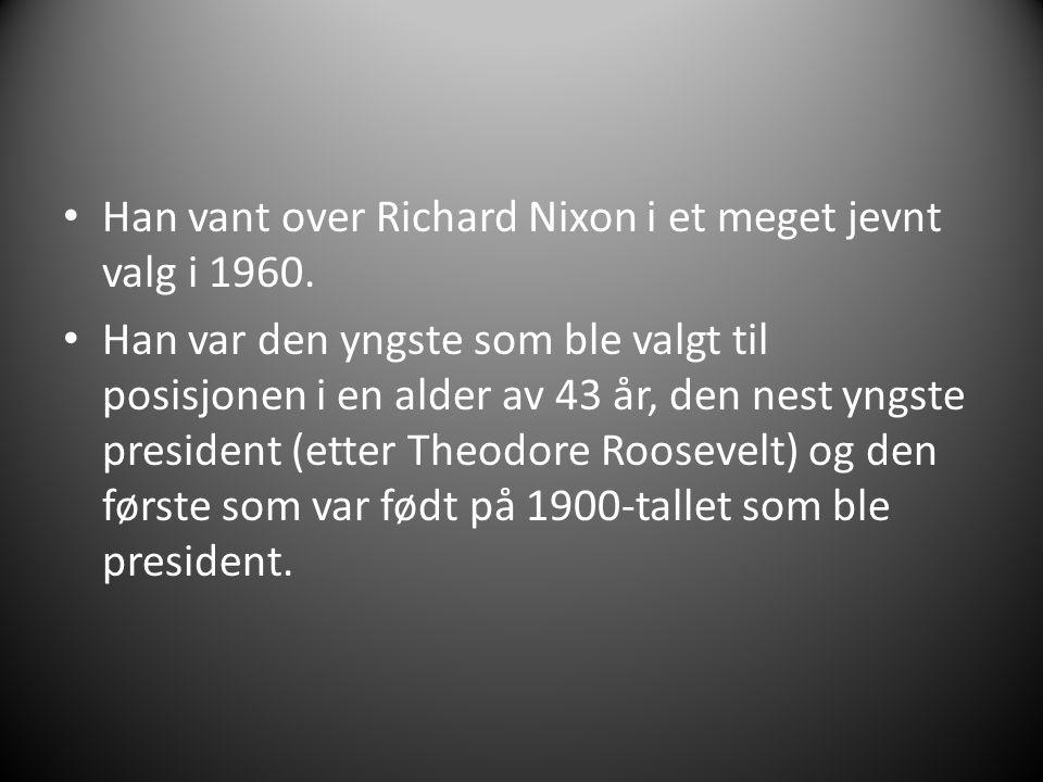 Han vant over Richard Nixon i et meget jevnt valg i 1960. Han var den yngste som ble valgt til posisjonen i en alder av 43 år, den nest yngste preside