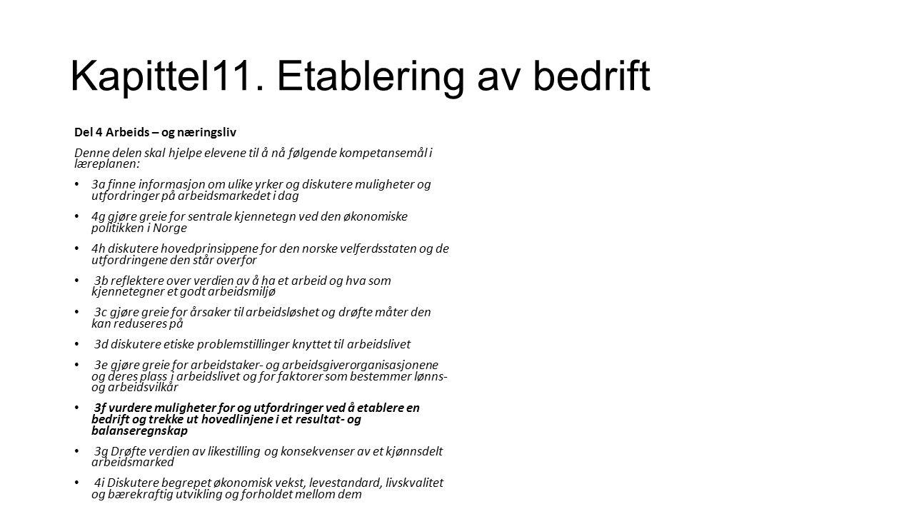 Kapittel11.Etablering av bedrift Hva er viktig å tenke på dersom du vil starte en bedrift.