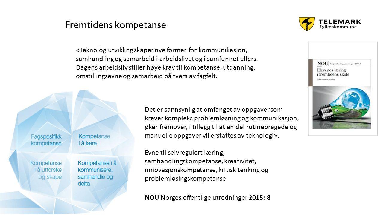 www.telemark.no Fremtidens kompetanse Det er sannsynlig at omfanget av oppgaver som krever kompleks problemløsning og kommunikasjon, øker fremover, i