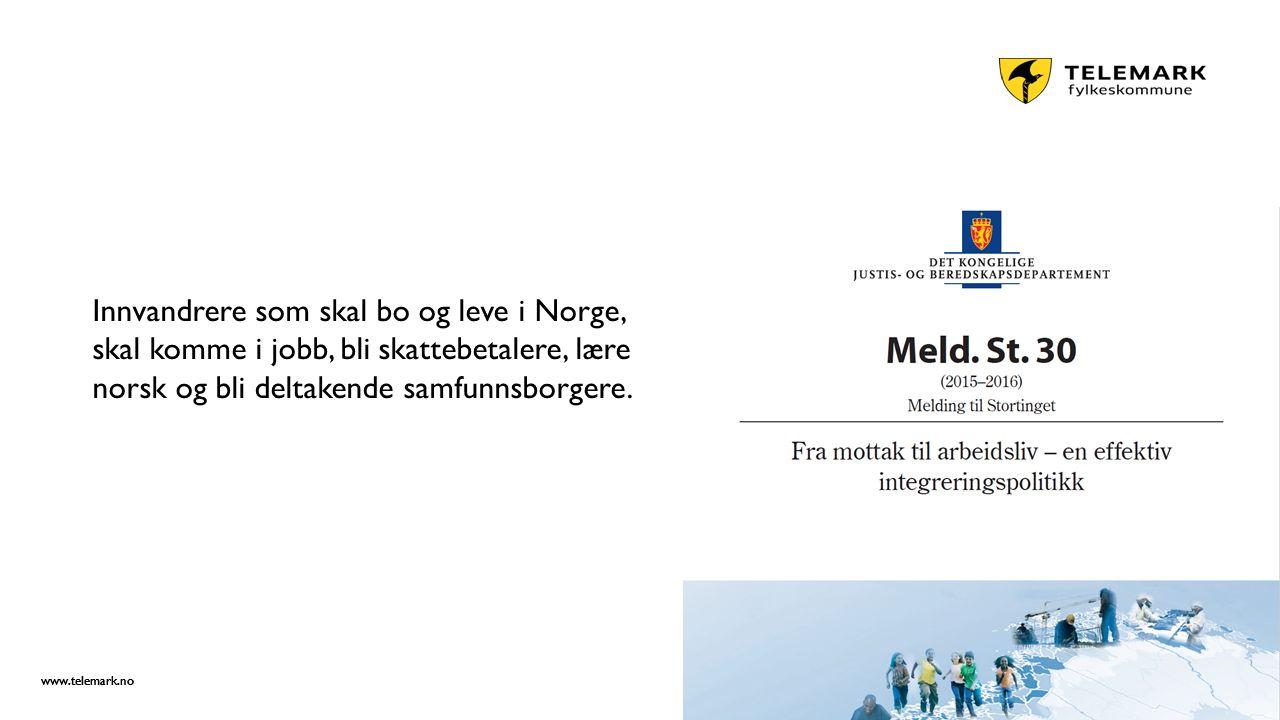 www.telemark.no Innvandrere som skal bo og leve i Norge, skal komme i jobb, bli skattebetalere, lære norsk og bli deltakende samfunnsborgere.