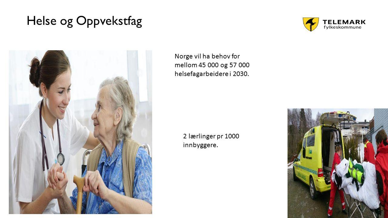 www.telemark.no Helse og Oppvekstfag Norge vil ha behov for mellom 45 000 og 57 000 helsefagarbeidere i 2030. 2 lærlinger pr 1000 innbyggere.