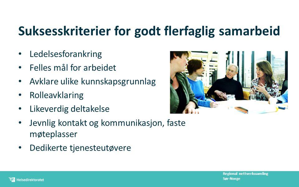 Suksesskriterier for godt flerfaglig samarbeid Ledelsesforankring Felles mål for arbeidet Avklare ulike kunnskapsgrunnlag Rolleavklaring Likeverdig de