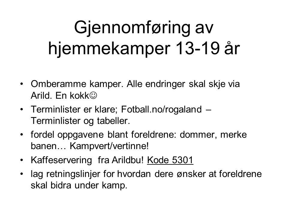 Gjennomføring av hjemmekamper 13-19 år Omberamme kamper.