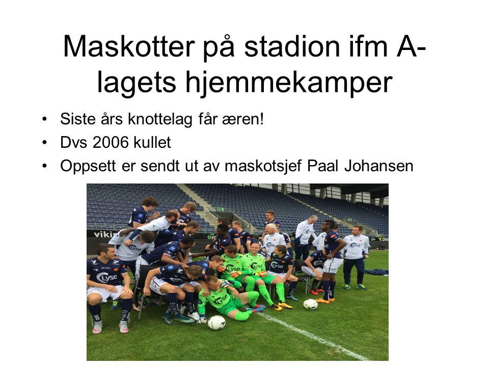 Maskotter på stadion ifm A- lagets hjemmekamper Siste års knottelag får æren.