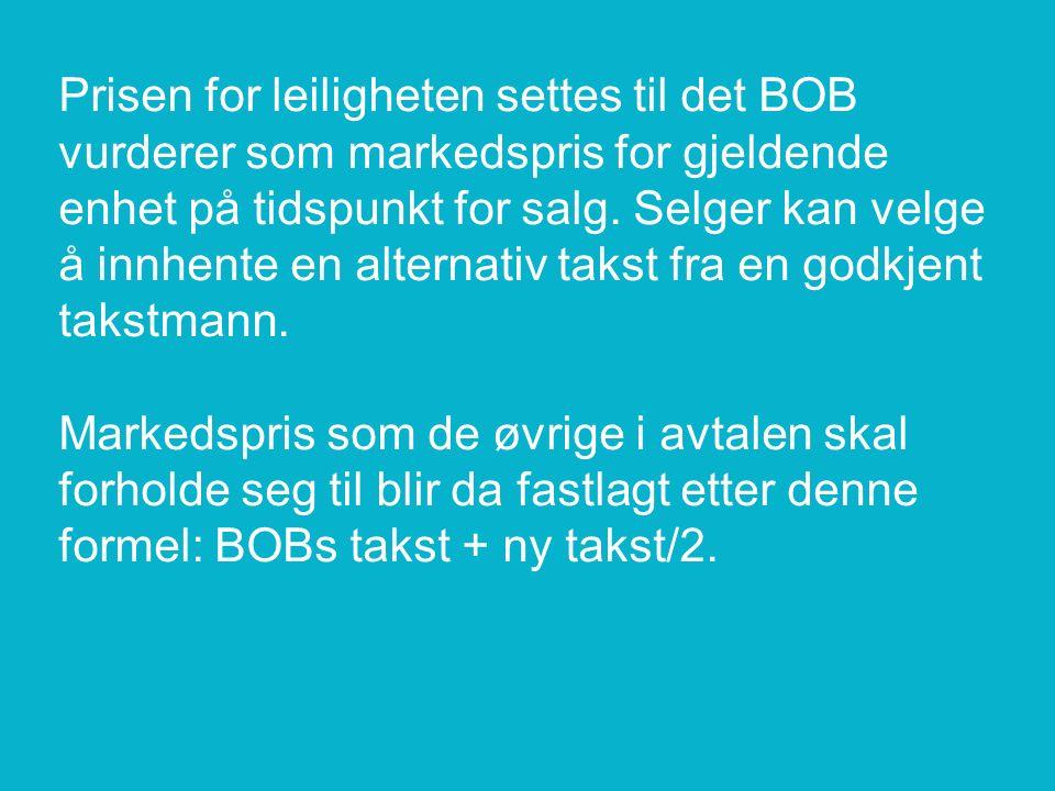 Prisen for leiligheten settes til det BOB vurderer som markedspris for gjeldende enhet på tidspunkt for salg.