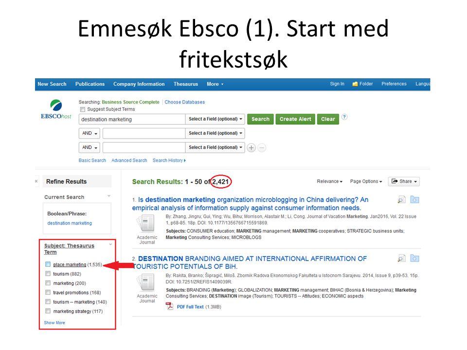 Emnesøk Ebsco (1). Start med fritekstsøk