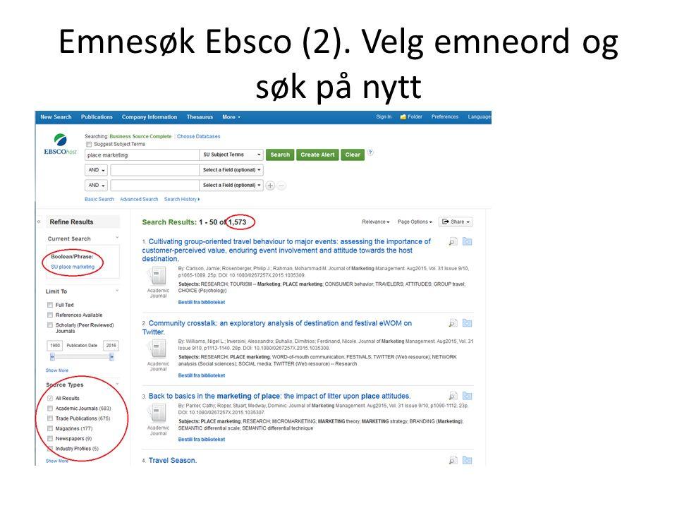 Emnesøk Ebsco (2). Velg emneord og søk på nytt