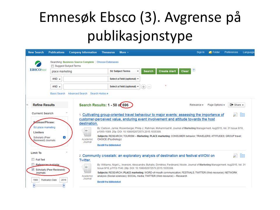 Emnesøk Ebsco (3). Avgrense på publikasjonstype